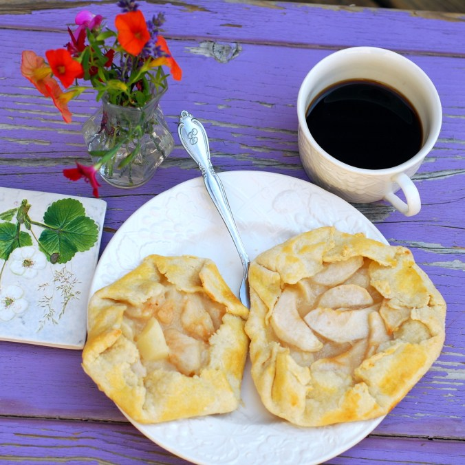 apple and pear galettes on purple bench 1
