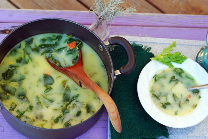 lemon spinach soup with pot and bowl 3