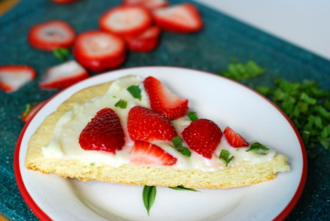 strawberry mint pizza with mint