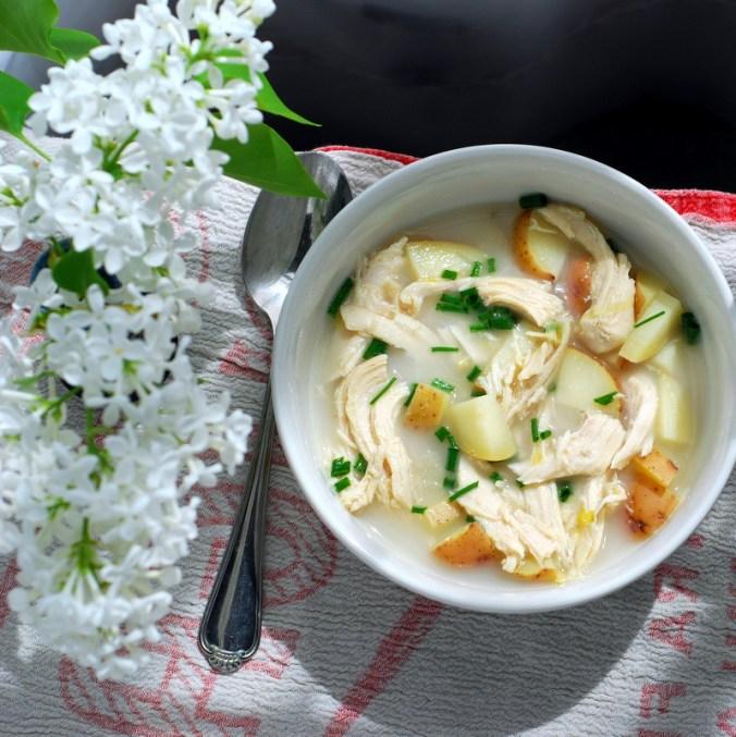 potato leek soup with lilacs on white 9
