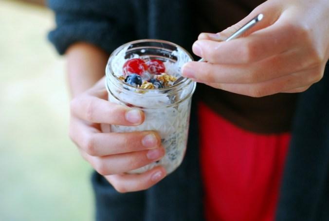 cherry berry breakfast jars on porch