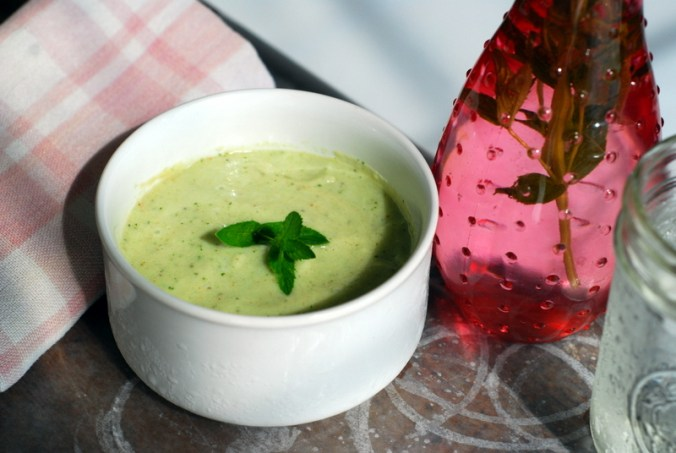 cucumber mint soup with pink vase 4