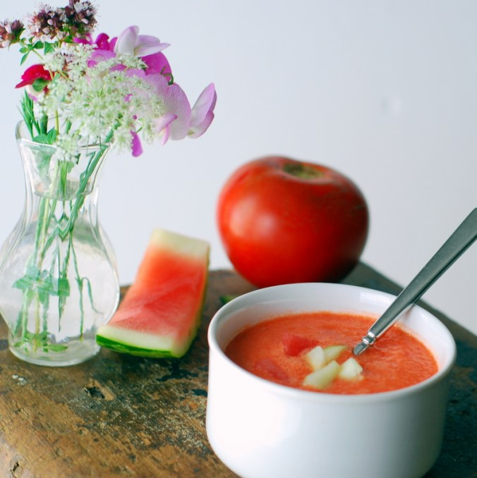 watermelon gazpacho with vase