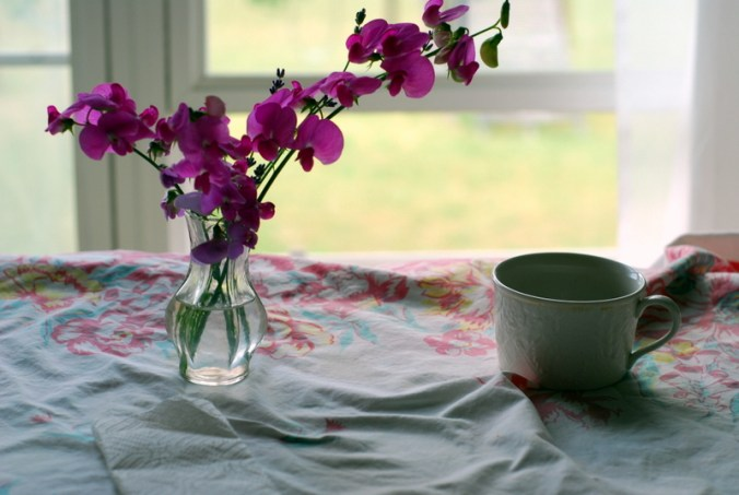 sweet peas and window