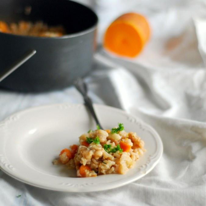 autumn rice and pan