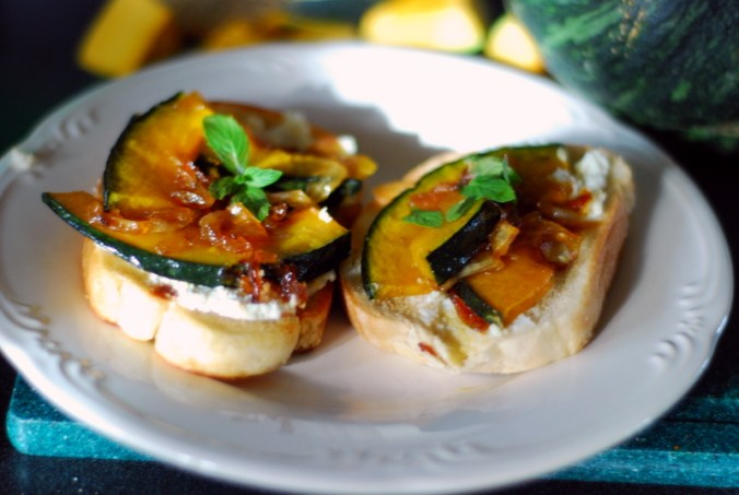 kabocha squash toasts in sun