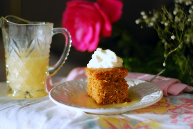 gingerbread cake with rose and lemon