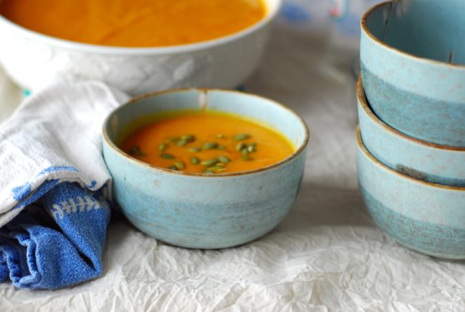 winter soup with bowls