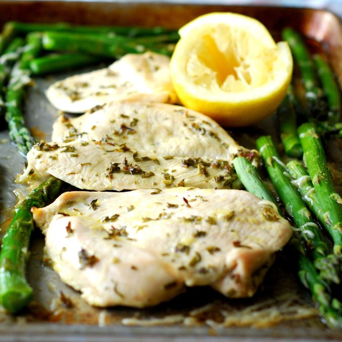 roasted lemon chicken and asparagus 889