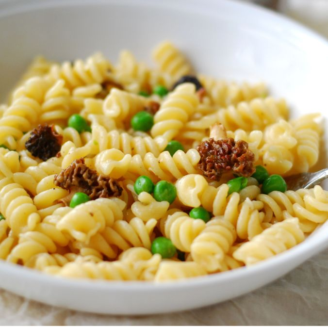 spring pasts with morels and peas 903