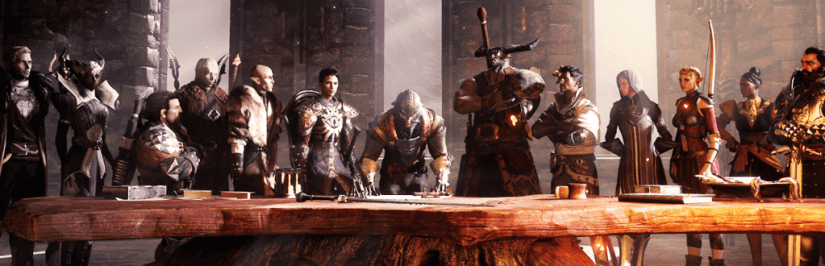 Dragon Age Inquisition - The Inquisitor character is in the center, surrounded by his 12 companions