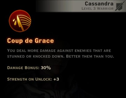 Dragon Age Inquisition -Coup de Grace Battlemaster warrior skill