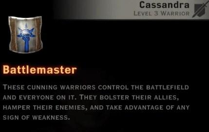 Dragon Age Inquisition - Battlemaster skill tree