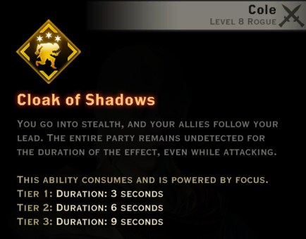 Dragon Age Inquisition - Cloak of Shadows Assassin rogue skill