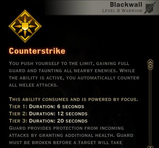 Dragon Age Inquisition - Counterstrike Champion warrior skill