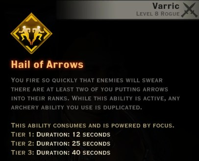 Dragon Age Inquisition - Hail of Arrows Artificer rogue skill