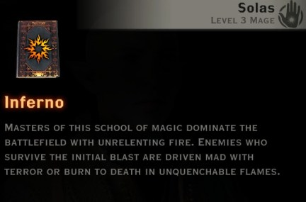 Dragon Age Inquisition - Inferno Mage skill tree