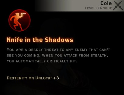 Dragon Age Inquisition - Knife in the Shadows Assassin rogue skill