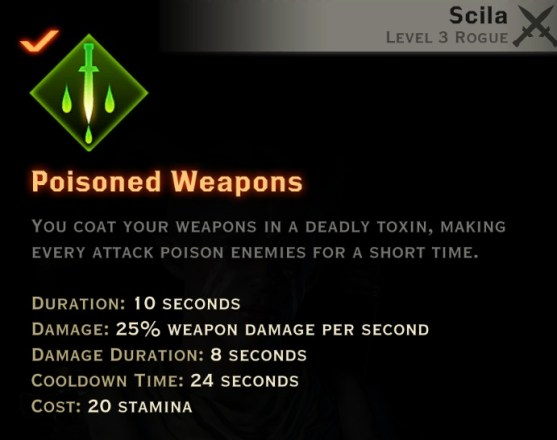 Dragon Age Inquisition - Poisoned Weapons Sabotage rogue skill