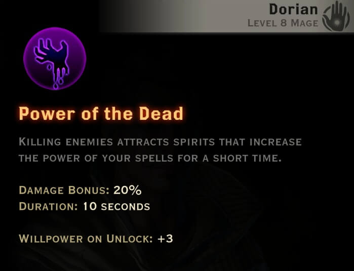 Dragon Age Inquisition - Power of The Dead Necromancer mage skill