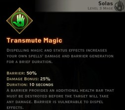Dragon Age Inquisition - Transmute Magic Spirit mage skill