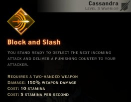 Dragon Age Inquisition - Block and Slash Two-Handed Weapon warrior skill