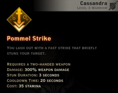 Dragon Age Inquisition - Pommel Strike Two-Handed Weapon warrior skill