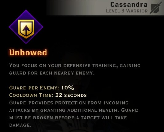 Dragon Age Inquisition - Unbowed Vanguard warrior skill
