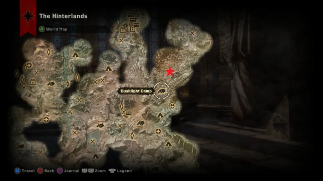 Dragon Age Inquisition - map location of the Ferelden Frostback Dragon in the Hinterlands