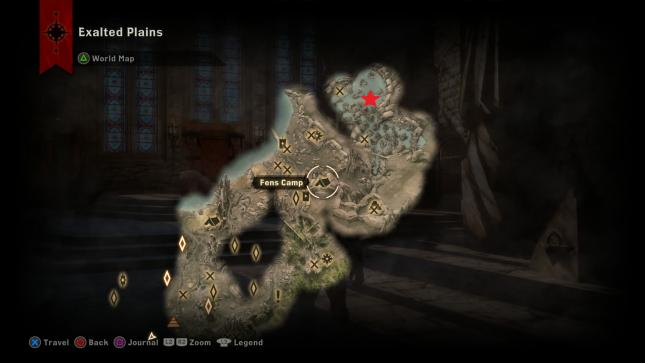 Dragon Age Inquisition - map location of the Gamordan Stormrider dragon in Exalted Plains