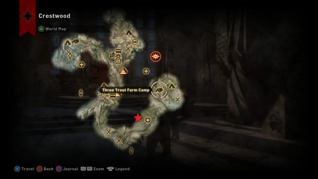 Dragon Age Inquisition - map location of the Northern Hunter dragon in Crestwood