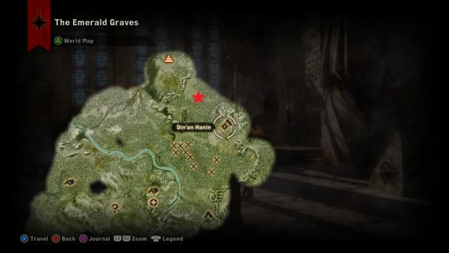 Dragon Age Inquisition - map location of the Greater Mistral dragon in the Emerald Graves