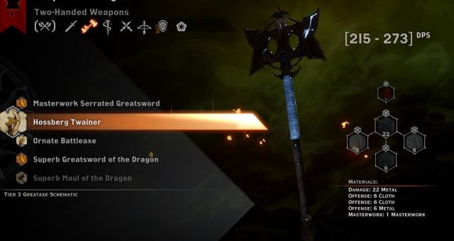 Hossberg Twainer best two-handed weapon in dragon age: Inquisition
