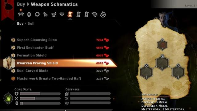 Dwarven and Formation Shields sold by merchant in Suledin Keep - Dragon Age Inquisition