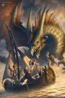 Dragon attacking boat