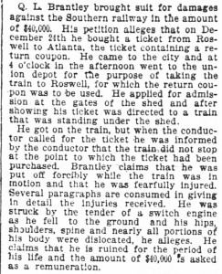 1 Dr. Q.L. Brantley's_suit_filed_against_Southern_Railway 29 Jan 1896