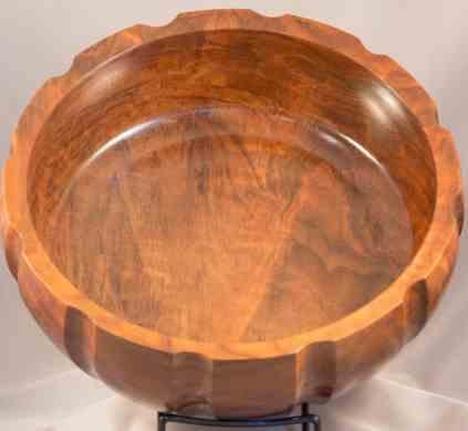 Fluted Walnut Bowl-3