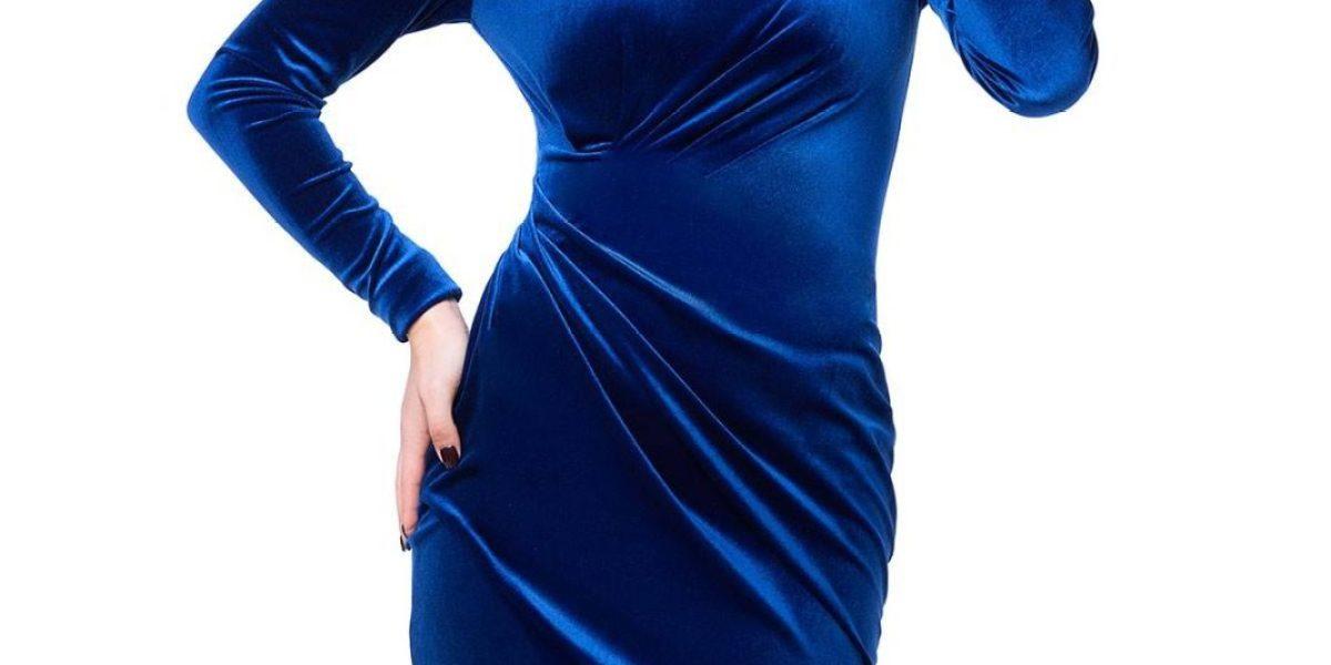 rochie de catifea albastra
