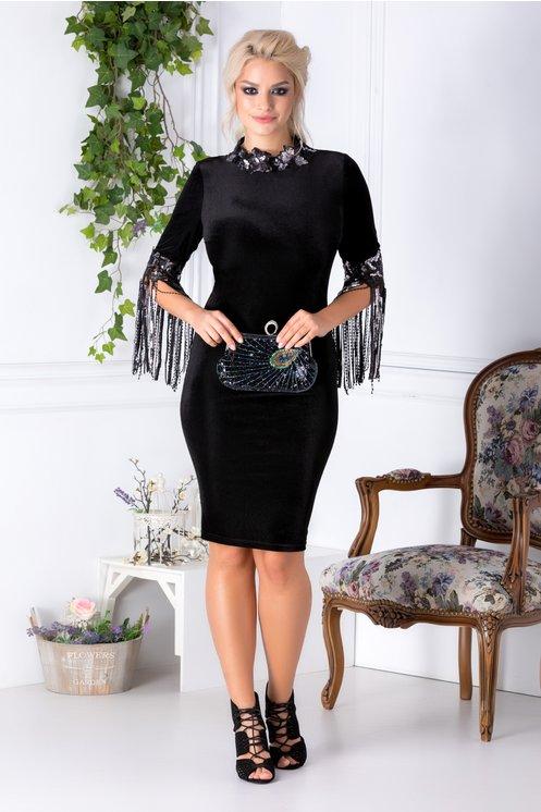 rochie-leonard-collection-neagra-cu-broderie-si-franjuri-din-paiete-177114-2