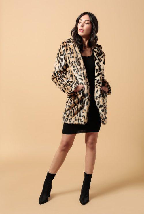 palton dama animal print