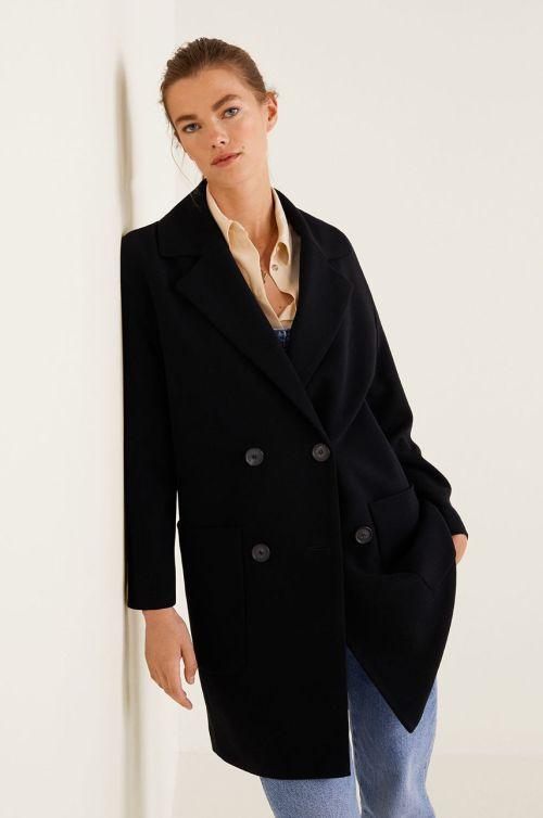 palton dama negru mango