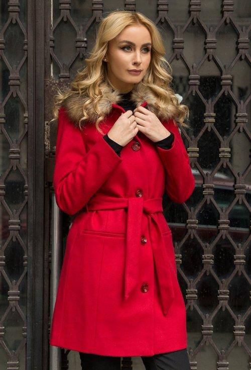 palton dama rosu din lana