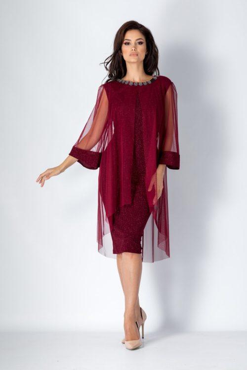 rochie bordo din voal