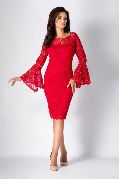 rochie din dantela cu maneci clopot