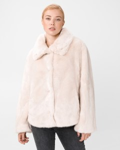 Haina dama din blana artificiala roz prafuit