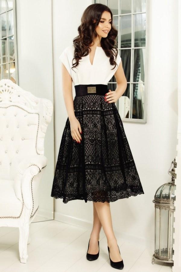 Rochie alb-negru cu dantela Salma