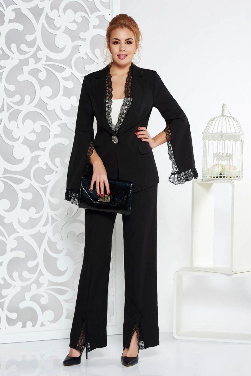 Compleu Artista negru elegant din stofa neelastica cu aplicatii de dantela