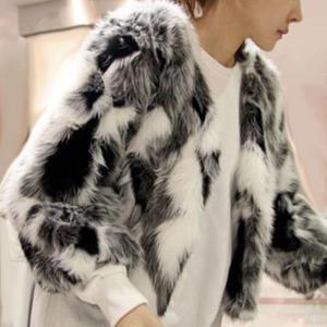 Geaca scurta pentru femei, din imitatie de blana, culori mixte