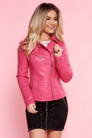 Geaca SunShine roz casual din piele ecologica captusita pe interior cu buzunare cu fermoar