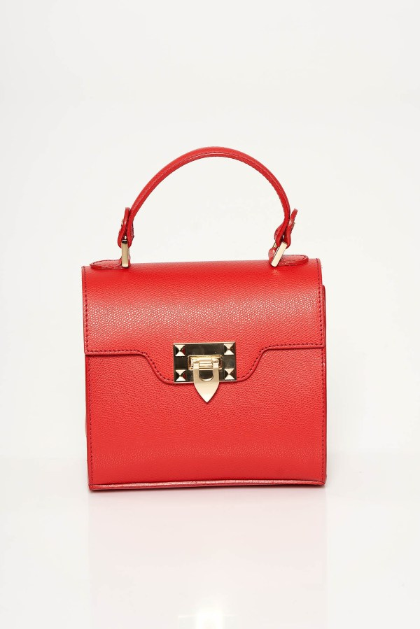 Geanta dama rosie casual din piele naturala accesorizata cu o catarama metalica
